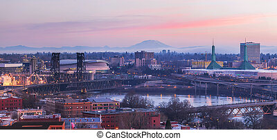 Portland Oregon Cityscape at Sunrise Panorama