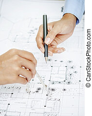 Working on blueprint - Working on architecture drawing plan,...