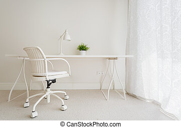 White empty desk in stylish retro interior
