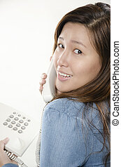Beautiful woman on the phone - Smiling business woman...