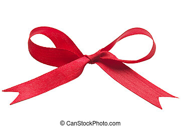Gift ribbon - Red gift celebration ribbon bow isolated over...