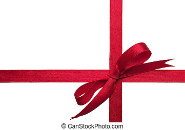 Gift ribbon - Red gift celebration ribbon bow over white...