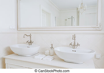 Designed washbasins in retro bathroom - Close-up of designed...