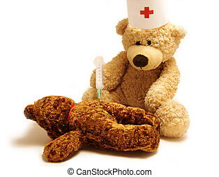 Teddy- medic - Teddy-bear as a medicine worker doing...
