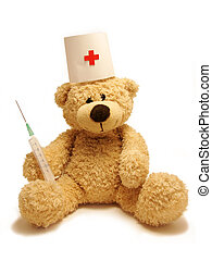 teddy-bear medic isolated in white background...