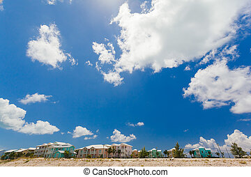 Colorful houses along the coast - A photograph of colorful...
