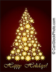 Starry Christmas tree gold - vector illustration, Unusual...