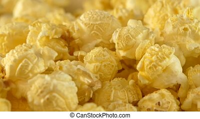 Yellow popcorn, background, close up, rotation - Yellow...