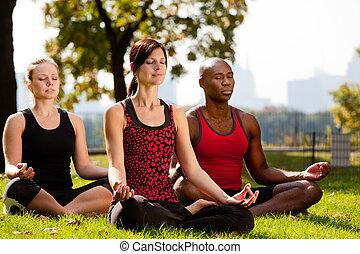 ciudad, parque, yoga
