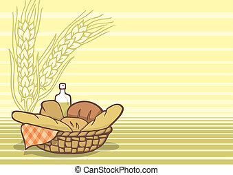 Basket of breads background vector - Basket of breads in...