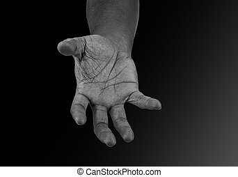 hand - Hands of men with mystery, black and white
