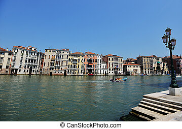 Historic houses, canals and lagoon in Venice