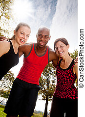 Fitness Friends - A group of frIends exercising in the park...