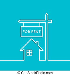 House with a sign for rent Rental housing real estate logo...
