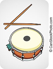 snare drum and stick cartoon vector