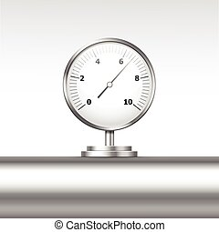 Vector Pressure Gauge Manometer Isolated - Vector...
