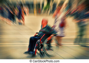 Abstract background A disabled person in a wheelchair on a...