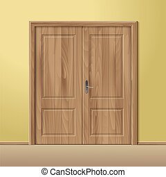 Vector Wood Closed Door with Frame Isolated on Background