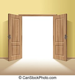 Vector Wood Open Door with Frame Isolated on Background