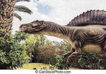 antiguo, extinto, Dinosaurio, spinosaurus,