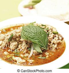 thai food, minced meat spicy salad - famous thai food,...