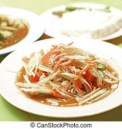 Thai food, papaya salad or som-tam - famous Thai food,...