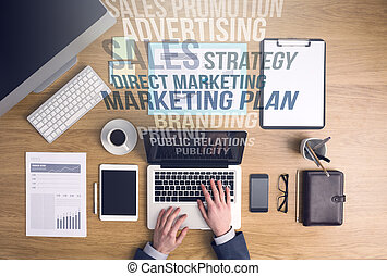 Marketing and business concepts - Businessman working on a...