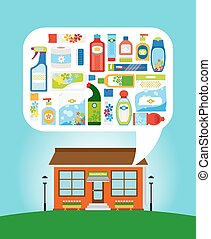 Shop with household chemicals - Shop with collection of...