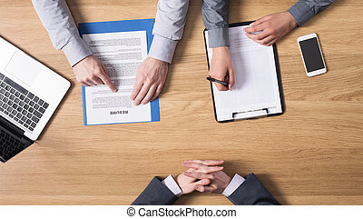 Job interview - Male young candidate having a job interview...