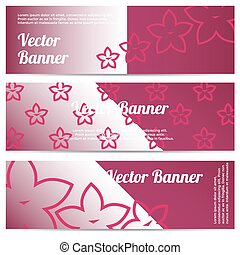 Vector abstract banner with pink flowers
