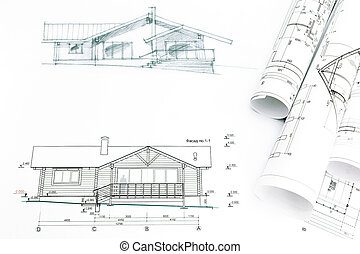 outline sketch of house with blueprints