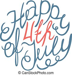 Happy Independence day handlettering element on white...