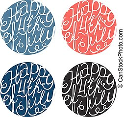 Happy Independence day handlettering elements four colors on...
