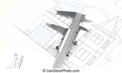 Calliper on the building plan, scheme, rotation - Metal...
