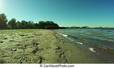 River beach - From shore of river beach to reeds