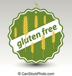 vector green gluten free paper price tag label wheat stalks...