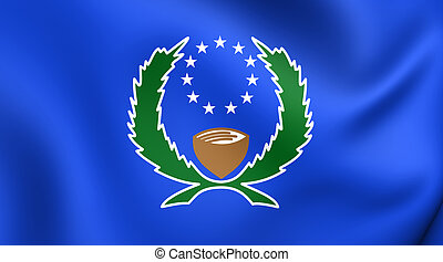 Flag of the Pohnpei State, Micronesia - 3D Flag of the...