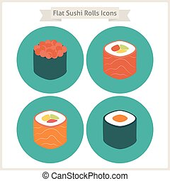 Flat Food Sushi Rolls Circle Icons Set Set of Japanese Food...