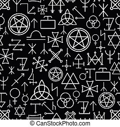 Mystical seamless pattern on black background. White line,...