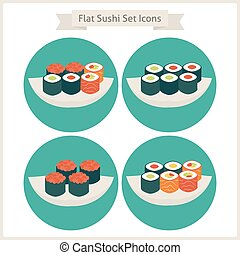 Flat Food Sushi Set Circle Icons Set of Japan Food...