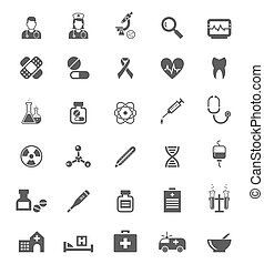Medical icons on white Tablets medicines, pills and drugs -...