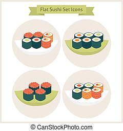 Flat Sushi Circle Icons Set Set of Japanese Food Vector...