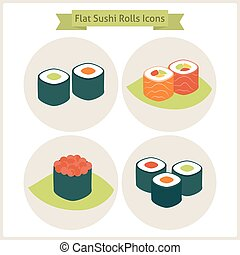 Flat Sushi Rolls Circle Icons Set Set of Japanese Food...