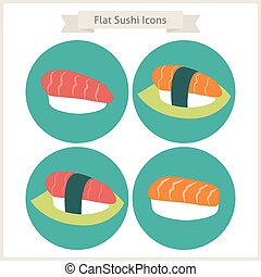 Flat Food Sushi Circle Icons Set Set of Japanese Food Vector...