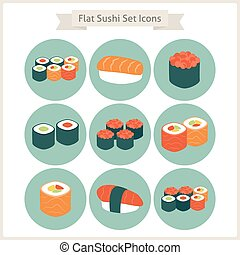 Flat Big Food Sushi Set Circle Icons Set of Japanese Food...
