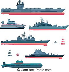 Militaristic ships icons set. Navy ammunition, warship and...