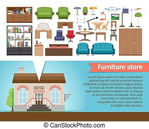 Furniture store set Interior design home, shop for room and...