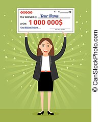 Woman with check for one million dollars in hands Money and...