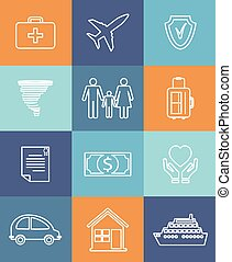 Family auto and home insurance flat icons