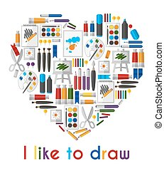 I like to draw. Heart of pencils and paintbrushes. Pencil...